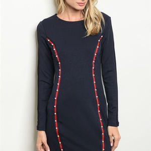Dresses - Navy bodycon dress with pearls & sheer sleeves